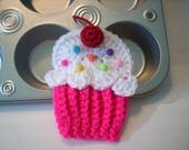 Cupcake applique neon pink white frosting red cherry sprinkles crochet string into Birthday Party Banner use on hats headbands purse bags