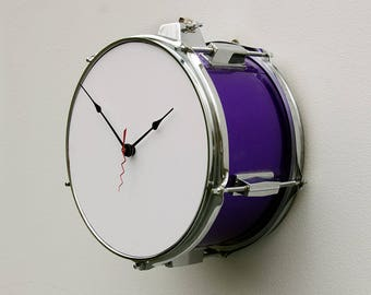Recycled Drum Clock, tom tom clock, percussion inspired clock, steampunk clock, repurposed drum clock, purple clock, musical inspired clock