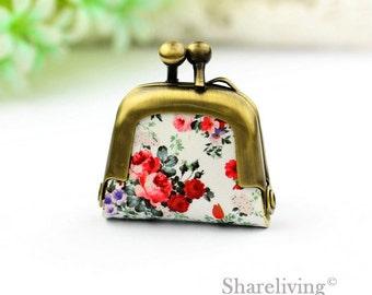 1pcs Vintage Rose Leather Purse Charm, Handmade  Antique Bronze / Silver Photo Purse Pendant / Necklace - PL001R