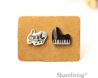 4pcs (2 pairs) Mini Piano Charm / Pendant, Stud Earring, Laser Cut Tiny Music Note Earring, Perfect for Earring / Rings - YED022A