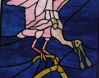 Handmade Stained Glass Roseatte Spoonbill Panel