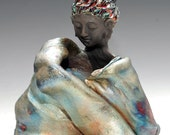Seated Buddha in Raku Ceramics Modern Sculpture