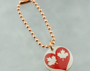 Canada Heart Planner Charm, Traveler's Notebook Charm, Purse Charm, Happy Planner Charm