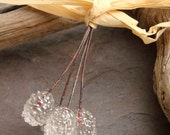 SPARKLING WATER PAIRS - Sparkly Handmade Lampwork Headpins - 4 Headpins