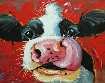 Cow painting 1209 12x16 inch original animal portrait oil painting by Roz