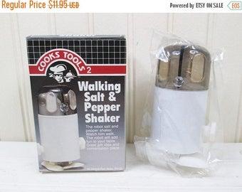 ON SALE Vintage Walking Robot Salt & Pepper Shaker Set Wind Up Plastic New In Box 1980s