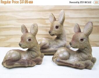 ON SALE Vintage Deer Figurine Set Flocked Plastic Fawn Lot Of 3 Christmas Woodland Decor