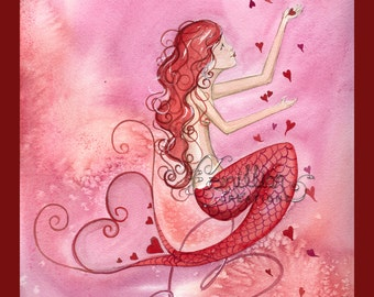 Showered in Love Mermaid Print  from Original Watercolor Painting by Camille Grimshaw