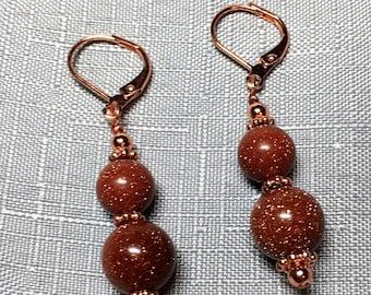 Beaded Goldstone Copper Leverback Dangle Drop Earrings #154