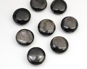 Hypersthene disk beads, black silver shimmer flat round semiprecious stone 12mm, 8 pcs