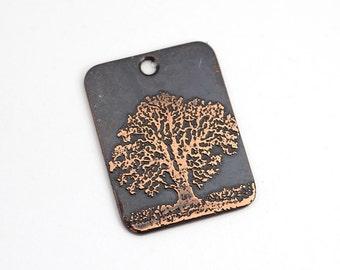 Tree pendant, rectangular flat metal copper etched design charm, handmade jewelry supply, 25mm
