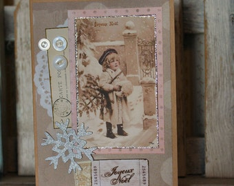 Joyeux Noel Collage Christmas card,handmade card,collage card,vintage image card