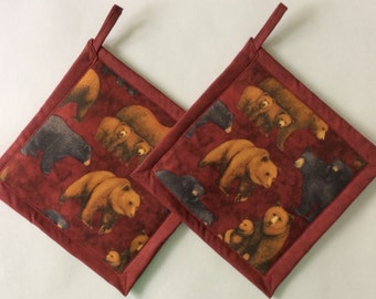 Black Bears, Brown Bears And Cubs Potholders, Grizzly Bear Theme Kitchen,  Bear Pot