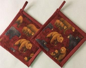 Black Bears, Brown Bears and Cubs Potholders, Grizzly Bear Theme Kitchen, Bear Pot Holders, Bear Kitchen Decor, Bear Hot Pads, Bear Hot Mats