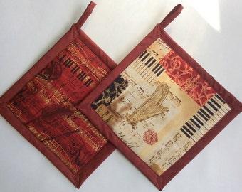 Musical Music  Potholders, Piano Potholders, Music Holders, Music Hot Pads, Music Hot Mats, Musical Hot Pads, Music Teacher Gift