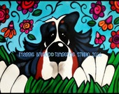 bernese mountain dog berner bmd garden hoe flowers daisies polka dot whimsical dog maggie brudos painting Original whimsical DOG art