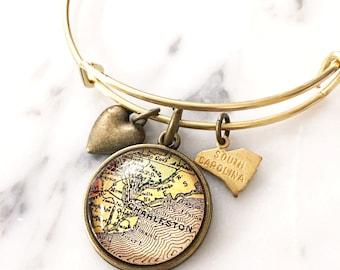 Charleston Map Charm Bangle Bracelet - Personalized Map Jewelry - Stacked Bangle - South Carolina - Destination Wedding - Bridesmaid Gift