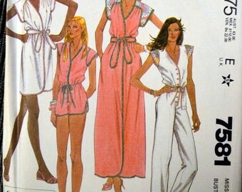 Vintage Sewing Pattern McCall's 7581 80's Misses' Cover-Up, Jumpsuit for Stretch Knits  Size 12 Bust 34 Complete Uncut FF