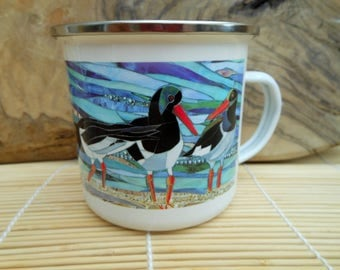 Oystercatchers Enamel Mug - Bird Camping Mug - Bird Mug - Seabird Mug - Beach Enamel Mug - Seaside Mug - Camping Gift Oystercatchers Mug