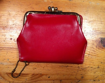 red vintage  bifold wallet top grade cowhide coin slot zipper