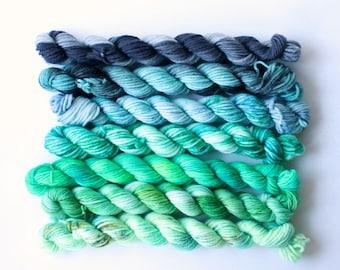 alfalfa .. 4 ply, 8 ply, 12ply mixed set hand dyed wool yarn, mini skein, soft, knitting weaving yarn, hand dyed sock yarn, dk yarn