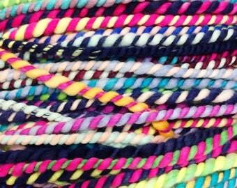 rainbow candy canes 4 available ..  wool yarn, wool yarn, handspun yarn, hand spun yarn, 2ply candy cane yarn, bulky wool yarn,