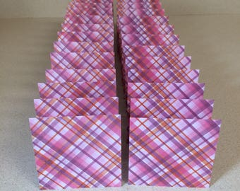 Mini Cards 24 pink purple plaid - blank for thank you notes 3 x 3