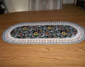 Crocheted Table Runner Don't Worry Be Happy Sunflowers Floral 16 X 36 Table Topper Oval Centerpiece Dresser Scarf Handmade Gift