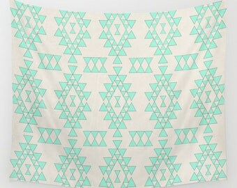 Wall tapestry- geometric design wall hanging- modern wall decor- home decor- dorm decor- geometric pattern- wall hanging- mint green