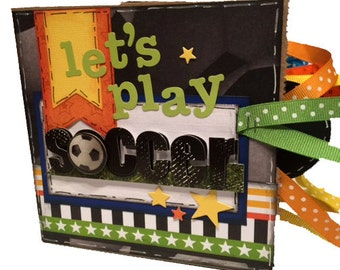 Soccer Scrapbook - Mini Sports Scrabook - Let's Play Soccer Sports Paper Bag Album