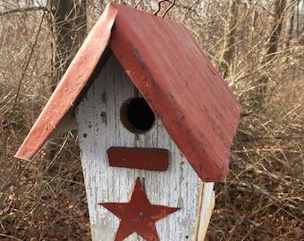 Birdhouse White Old Barnwood Metal Roof Side Opener
