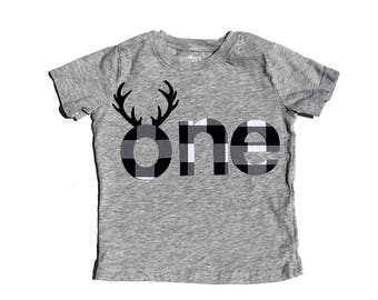 Buffalo Plaid, Antlers,One,First Birthday,Fabric Iron On Appliques,Number two And four Also Available