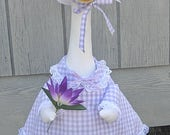 """Lavender and white checked gingham spring outfit for 24-27"""" yard, lawn or garden geese"""
