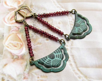 Hipster garnet earrings Boho patina art deco jewelry
