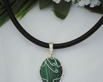 Malachite Green Pendant in Sterling Silver, Wire wrapped stone, Wearable art, Wire wrap Pendant