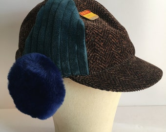 Toddler Size Winter Autumn Hat 1950's Deadstock Faux Fur Ear Flaps Kids Hat size 6 5/8 Brown and Blue Corduroy with Rotating Ear Flaps