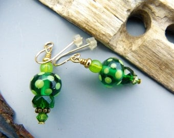 Transparent Kelly Green and Lime Green Lampwork Earrings