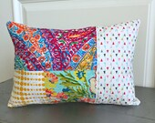 Kantha style running stitch hand sewn patchwork Pillow, Novelty Pillow, Embroidery Stitched Fabric Scrap Patchwork flower Mod Pillow - No. 9