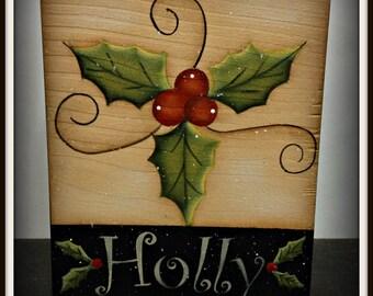 Christmas Holly Wood Shelf Sitter Block Holiday Home Decor