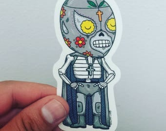 El Santo Calavera Clear Vinyl Sticker Day of the Dead