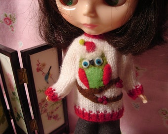 Hooty Owl Holiday Sweater for Blythe, Pullip and Vintage Skipper