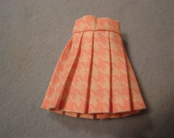 Blythe Pink Houndstooth Pleated Skirt for Pullip and Vintage Skipper Too!