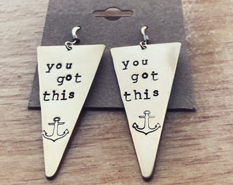 You got this handstamped brass gold earrings