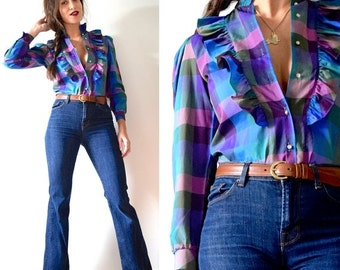 FLASH SALE / 20% off Vintage 70s Purple Plaid Ruffled Long Sleeved Blouse (size xs, small)