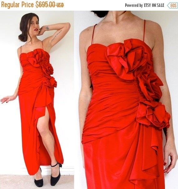 JANUARY SALE / 20% off Vintage 80s does 50s Fred Hayman Scarlet Red Ruched Bodice with 3D Roses Evening Gown (size medium)