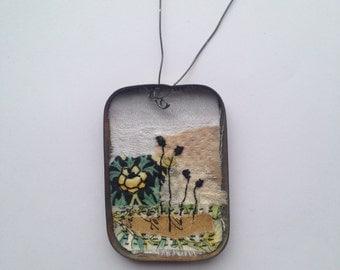 Original Textile Art in a tin - little garden