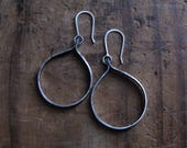Rustic Sterling Silver Tab Hoop Earrings