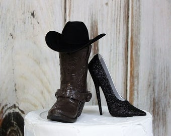 Wedding Cake Topper, Stiletto and Boot Cake Topper, Western Cake Topper, Barn Cake Topper