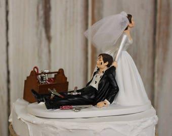 Auto Mechanic Wedding Cake Topper, Grooms Cake Topper, Bride and Groom Cake Topper