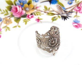 SILVER RING Art Nouveau Flower Ring ~ Antique Silver Ring Statement Ring Jewelry (RF-1)